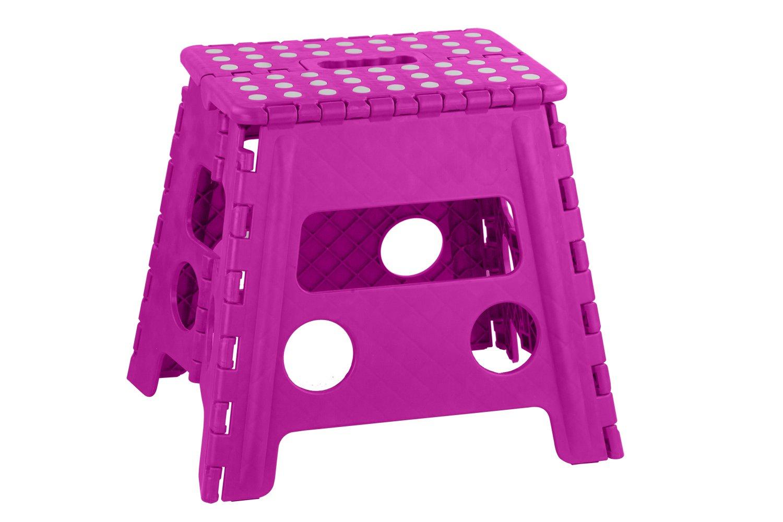 Home Basics FS10859-PNK Bright Folding Stool Non-Slip Dots, Large, Pink
