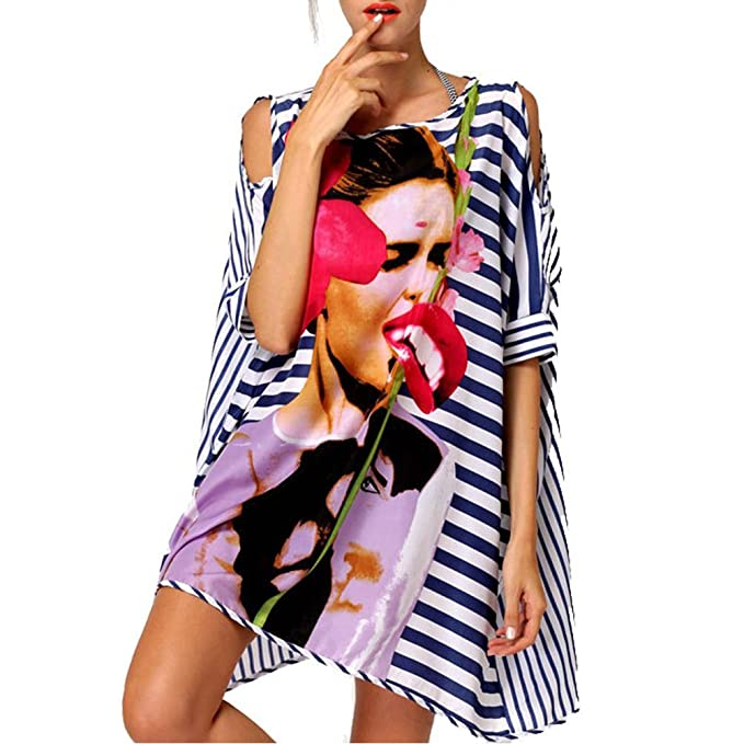 Dqdq sexy womens oversized striped beach bikini swimwear cover-up