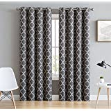 """HLC.ME Lattice Print Thermal Insulated Blackout Window Curtains for Bedroom - Grey - 52"""" W x 96"""" L - Pair"""