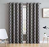 HLC.ME Lattice Print Thermal Insulated Blackout Room Darkening Energy Efficient Window Curtain Grommet Panels - Set of 2 - 52' W x 84' L - Grey