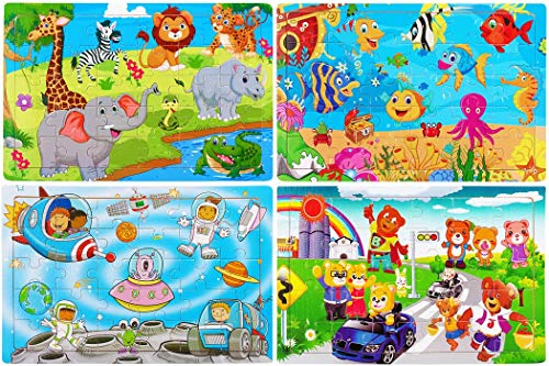 Wooden Jigsaw Puzzles Set for Kids Age 2-6 Year Old 30 Piece Colorful Wooden Puzzles for Toddler Children Learning Educational Puzzles Toys for Boys and Girls (4 Puzzles) ()