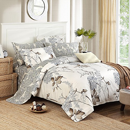 100% Cotton Set of 4 Bedding Sets Queen Size ChezMax Bed Flat (Bed Sheets Duvet Covers)