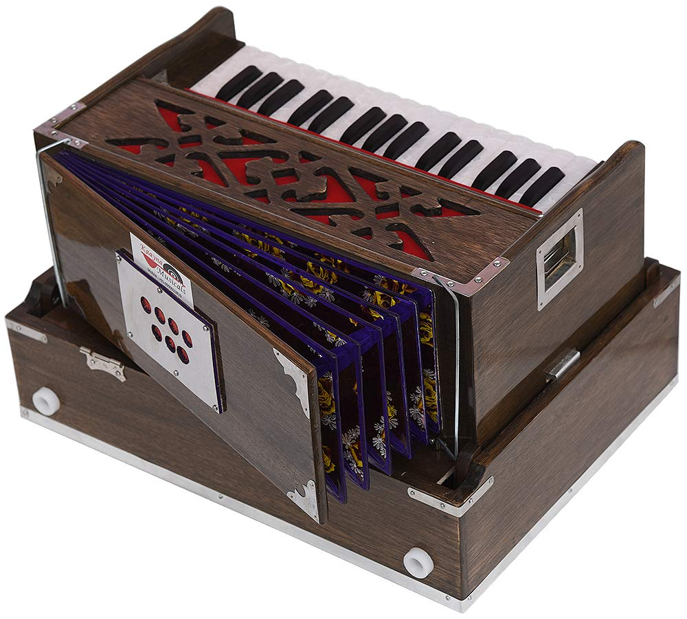 Mini Traveler Harmonium- 2¾ Octave By Kaayna Musicals-Portable, Baja, 4 Stops (2 Drone), Two Set Reed- Bass/Male, Dark Color, Gig Bag, Tuning: 440 Hz, Suitable for Yoga, Bhajan, Kirtan, Mantra, etc. by Kaayna Musicals