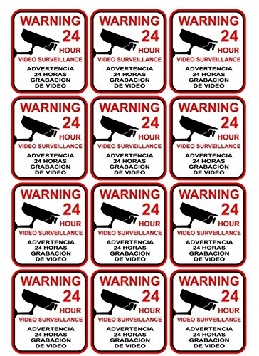 12 Pcs Paradisiac Popular Video Surveillance Sticker Sign Premises Monitored 24 Hour CCTV Being Watched Size 3