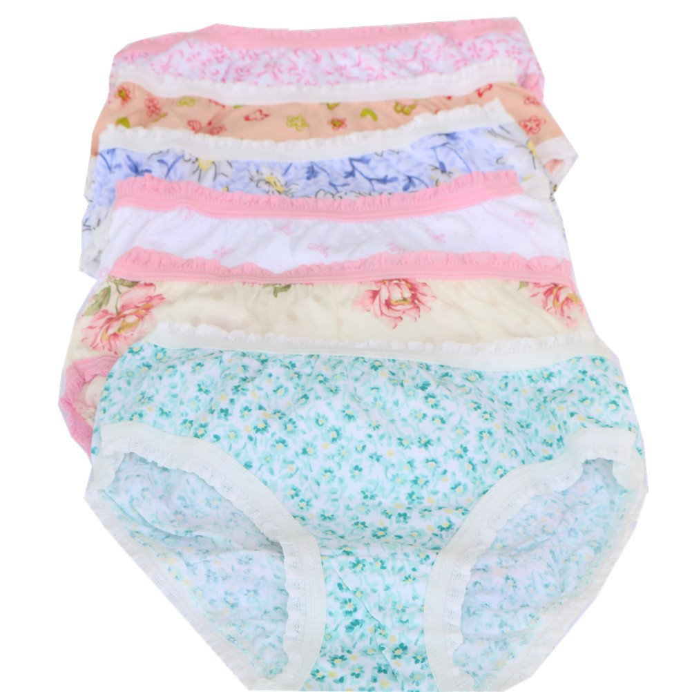 adiasen 6-pack Big Girl's Underwear Hipster Briefs Knickers Stripe Comfort Cotton Color Random