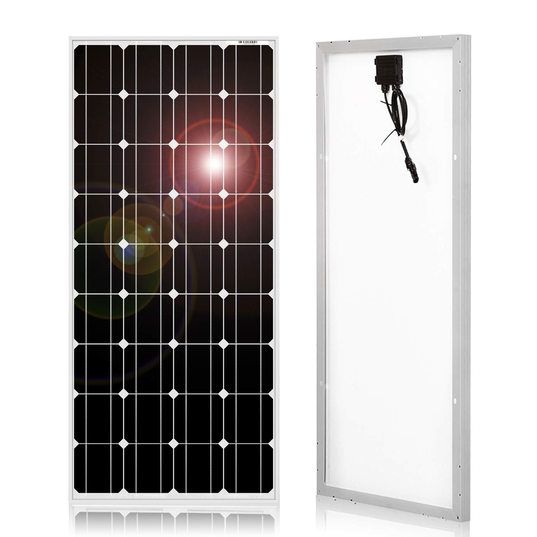 DOKIO Panel Solar Monocristalino 100W 12V,ALTA EFICIENCIA,ROBUSTO para carga de batería CASA RV