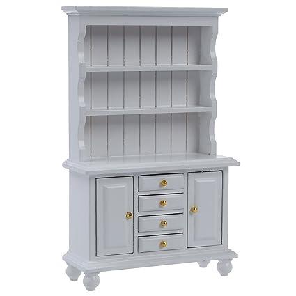 SODIAL (R) 1/12 casa de munecas muebles en miniatura de madera del gabinete multifuncion Estanteria blanca