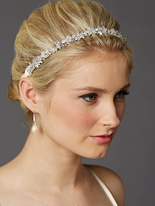 Mariell Crystal Cluster Bridal Wedding Headband Hair Vine with Ivory Ribbons