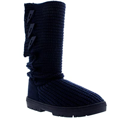 bdc87120af766 Holly Womens Snow Boot Knitted Short Winter Snow Rain Warm Waterproof Boots