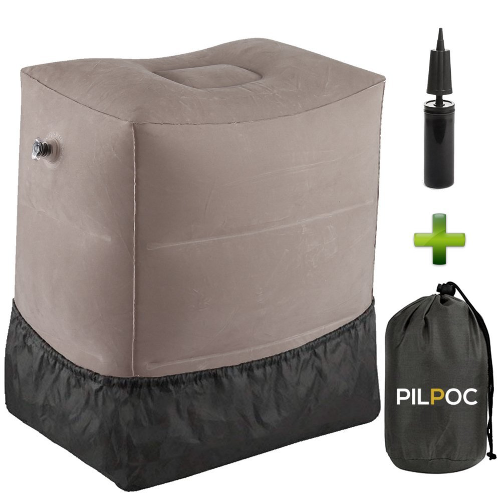 PILPOC Inflatable Foot Leg Rest For Travel With Pump, Premium Quality Inflatable Stool, Elevating Pillow Cushion For Air, Airplane, Car and Home For Kids To Sleep, Smart Valve Stays Inflated For Days