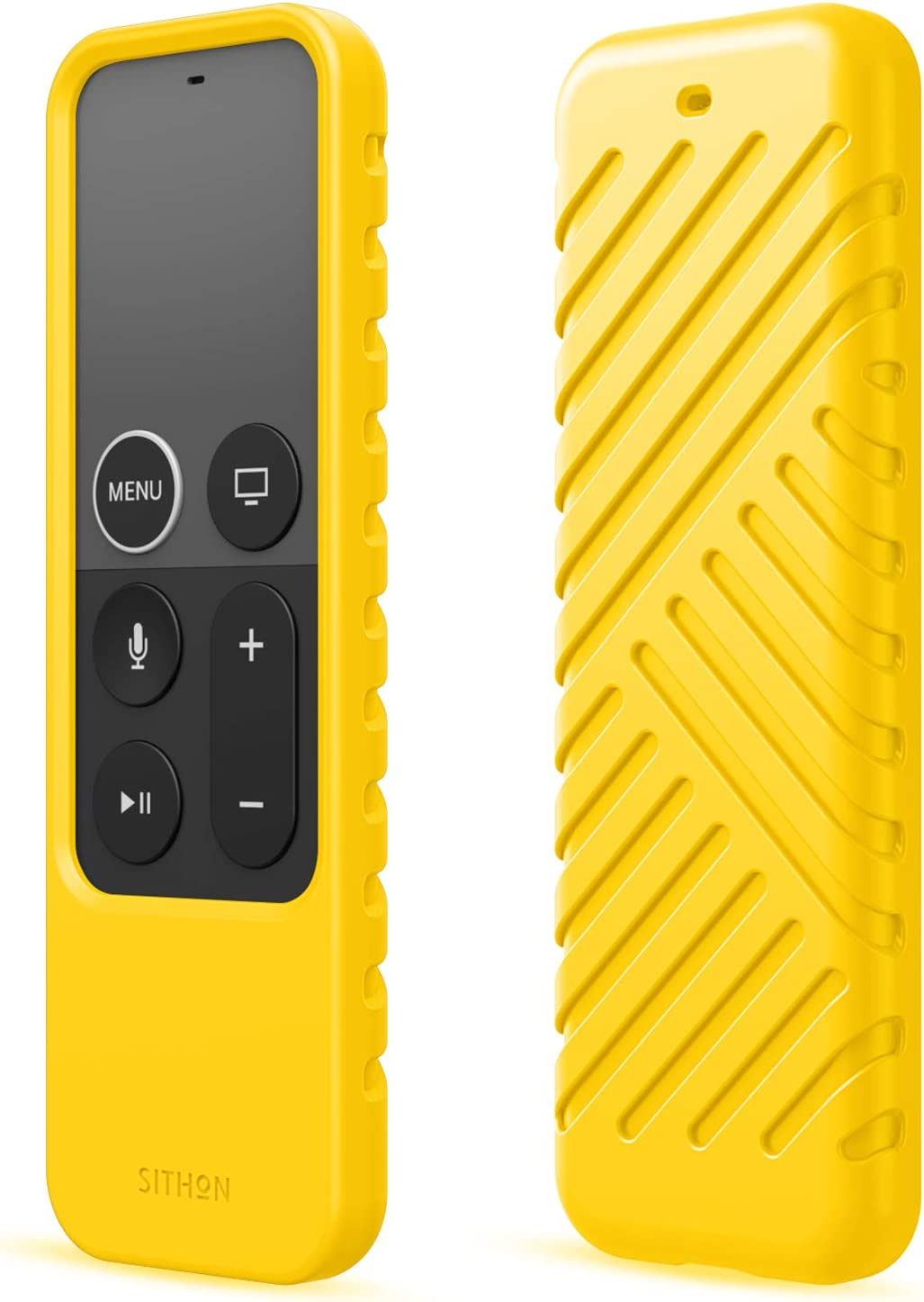 SITHON Silicone Case for Apple TV 4K 5th / 4th Gen Siri Remote, Lightweight Shockproof Anti Slip Protective Cover for Apple TV Siri Remote Controller, Yellow