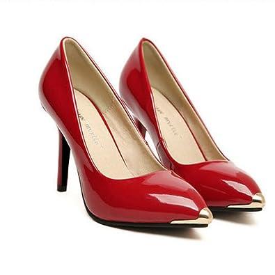 fa7c837a460 Zehui Shiny Classic Womens Pointy Toe Gold Cap Stilettos High Heel ...