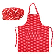 Opromo 12-Pack Cotton Canvas Adjustable Apron and Chef Hat Set-Red Dot-L