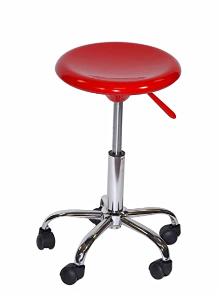Offex Artisan Height Adjustable Sturdy Seating Artist Studio Drafting Stool  With Casters, Red