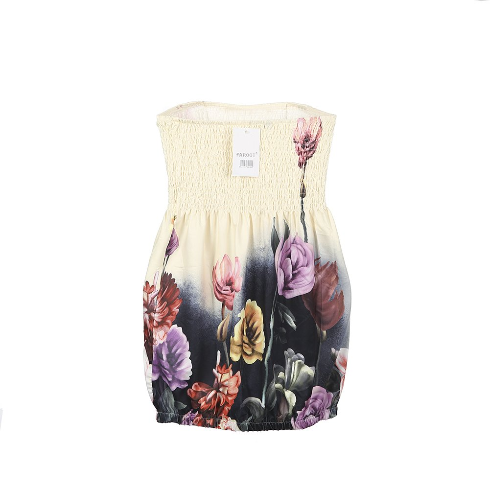 f885d25f66d Women s Floral Print Strapless Pleated Tube Top Shirt at Amazon Women s  Clothing store