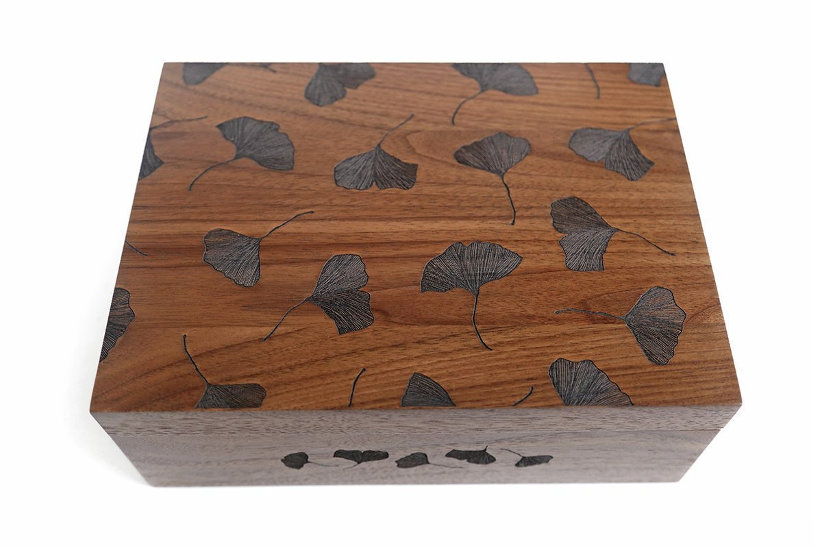 Ginkgo Leaves Laser Cut Wood Keepsake Box (Wedding Gift / Baby Shower Gift / Heirloom / Decorative / Handmade)