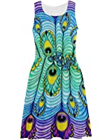 0a6b7036d4c D-Story Custom Sundress Beautiful Peacock Feather Women Sleeveless Sundress