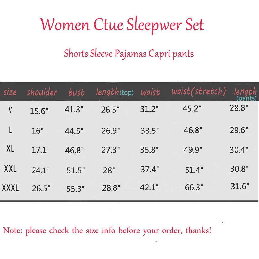 ENJOYNIGHT Women\'s Cute Sleepwear Tops with Capri Pants Pajama Sets (ABC, XXX-Large)