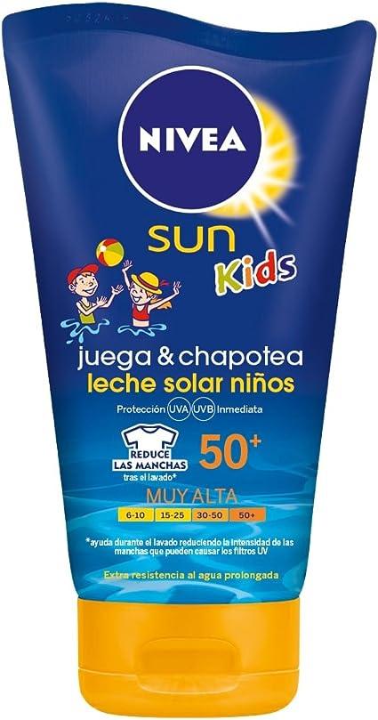 NIVEA Sun Kids - Crema solar niños Juega & Chapotea FP50 - Protección UV muy alta - 150 ml: Amazon.es: Belleza