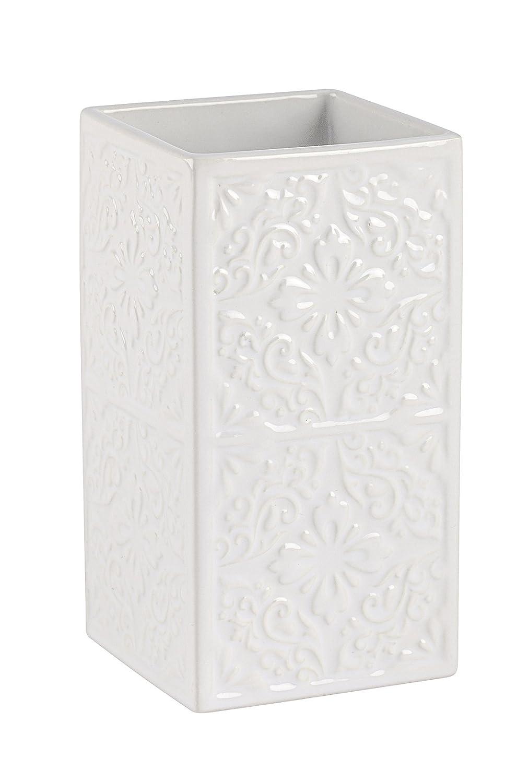 6.5 x 12 x 6.5 cm WENKO 22649100 Zahnputzbecher Cordoba Wei/ß Wei/ß Zahnb/ürstenhalter f/ür Zahnb/ürste und Zahnpasta Keramik