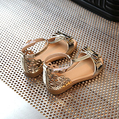 Scothen Niñas zapatos de la princesa huecos decorativos zapatos estudiantes boda sandalia de cuero zapatos de baile de la mariposa niños bucle partido relucientes ventas cargadores del tobillo Gold
