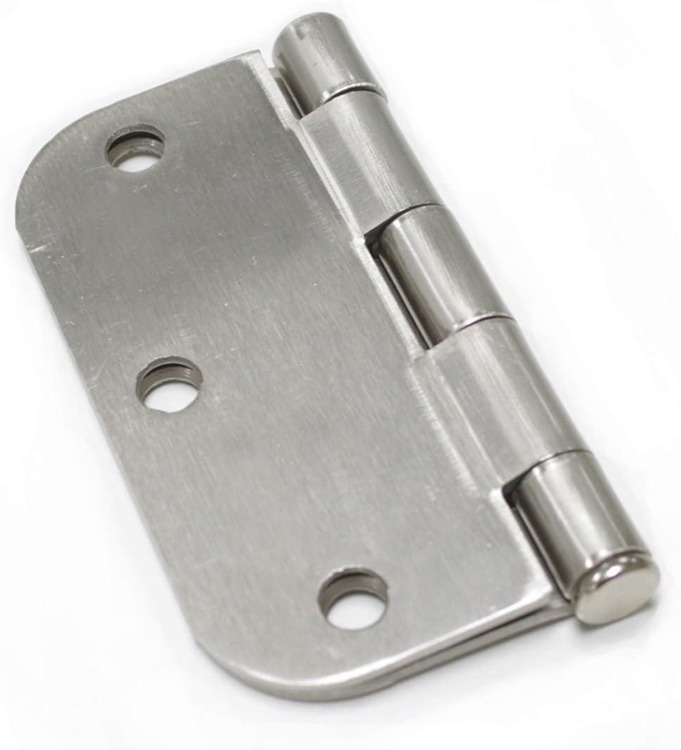 Probrico Door Hinges 3-1//2 x 3-1//2 5//8 Rounded Corner Satin Nickel 3 Pack