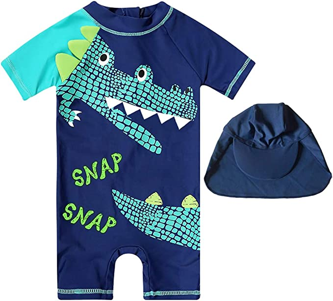 FBA Baby Toddler Boys Two Pieces Swimsuit Set Swimwear Shark Bathing Suit Rash Guards with Hat UPF 50