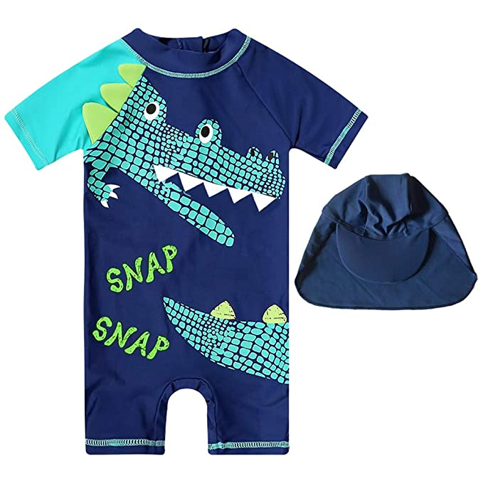 84f103cb2c5 Kids One Piece Rash Guard Shirts Boys Girls 3D Alligator Design Short Sleeve  Sunsuit Swimsuits UPF