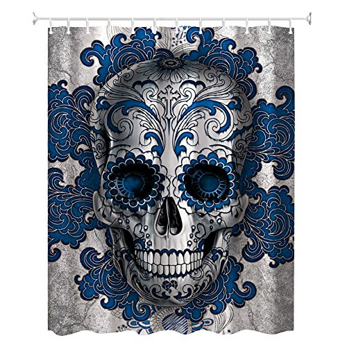 Floral Skull Shower Curtain-ZBLX Blue Art Skull Shower Curtain Water, Soap, and Mildew resistant - Machine Washable - 12 Shower Hooks are Included 72