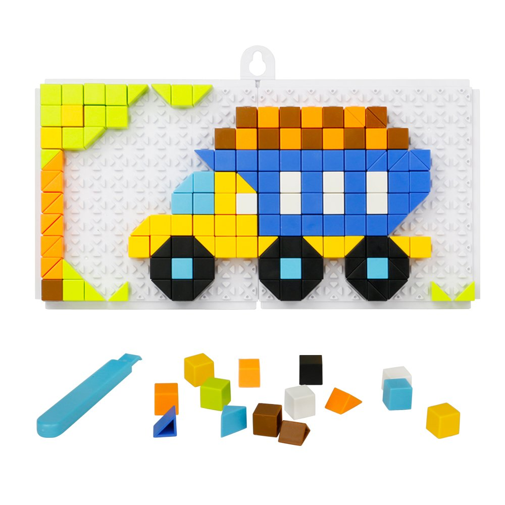 Mosaic Puzzle Funny Bricks Jigsaw Puzzles Building Blocks Set Preschool Creative Educational Toys Game for Kids Toddlers-198 Pieces
