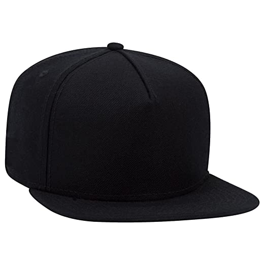 ded77c7cad1d9c OTTO Wool Blend Twill Square Flat Visor SNAP 5 Panel Snapback Hat - Black