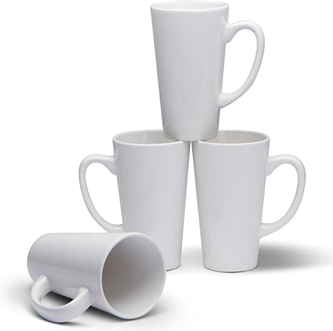 Amazon Com Serami 15oz White Funnel Ceramic Tall Coffee Mugs With Large Handles Set Of 4 Kitchen Dining