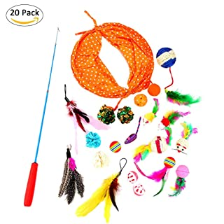Cat Toys Kitten Toys 20 PZ Pet Cat Toys Set Telescopico Cat Teaser Cat Tunnel di Ricambio Bell Ball Variety Pack Indoor Interactive Toy dizi248