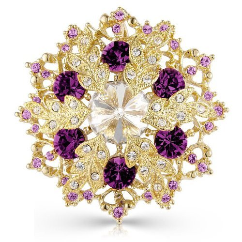 Designer Purple And Gold Tone Snowflake Brooch Pin And Pendant - 5cm x 5cm - Designer Gold Tone Brooch