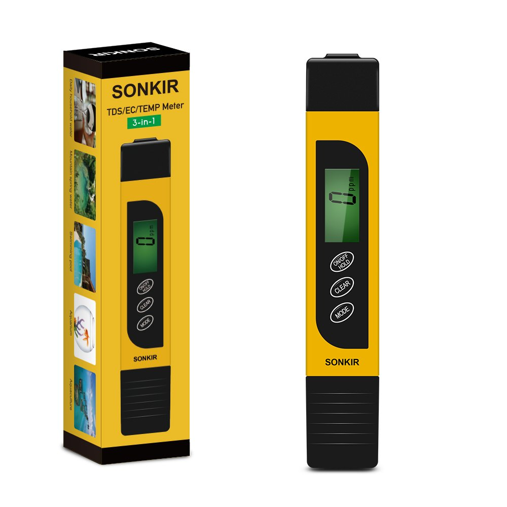 TDS Tester, Sonkir TDS02 Professional TDS/EC & Temperature Meter, Digital Water Quality Tester for Drinking Water, Swimming Pools, Aquariums, Hydroponics, Measure 0-9999ppm (Yellow)
