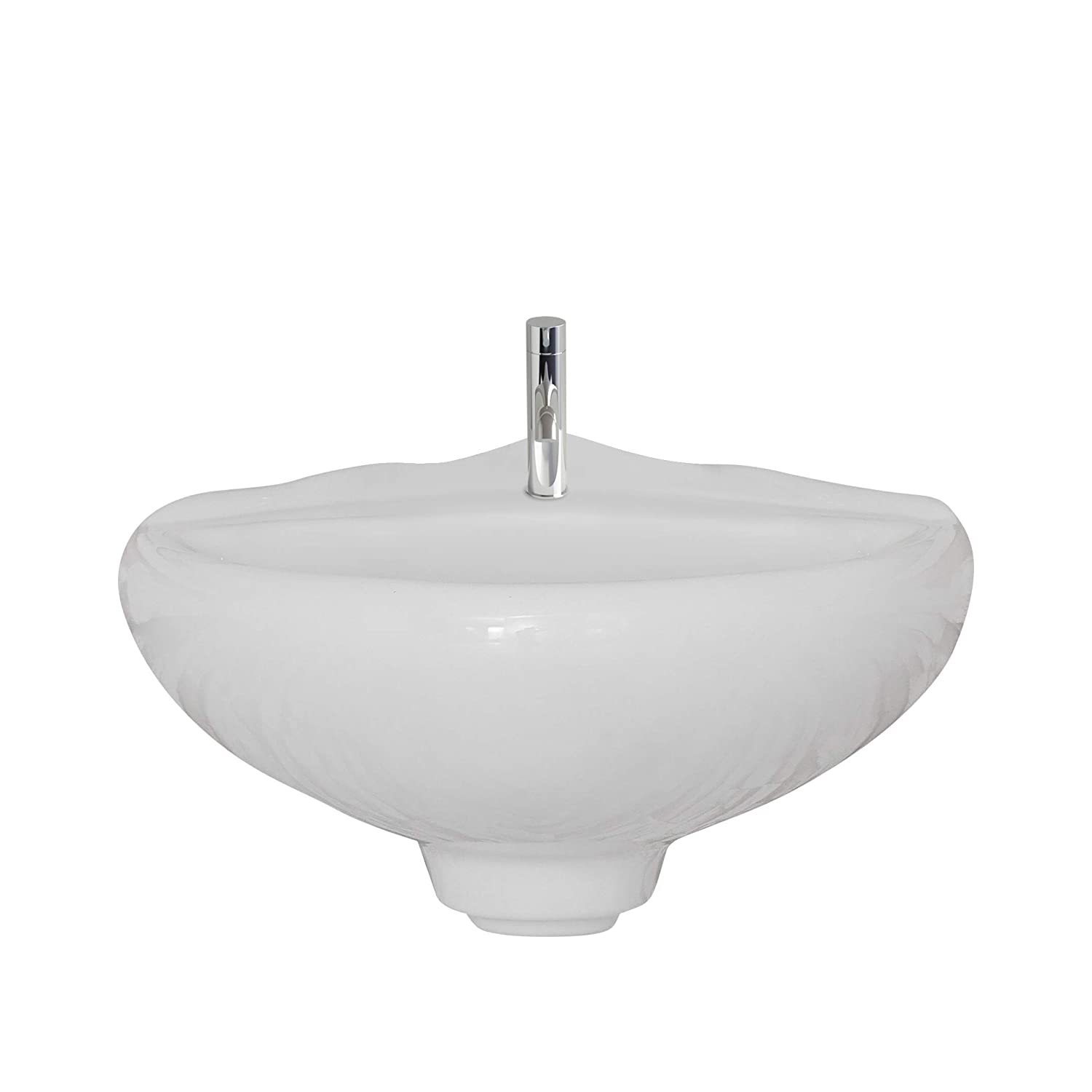 Ceramic Corner Wall Mount Bathroom 15.25 Sink Single Hole