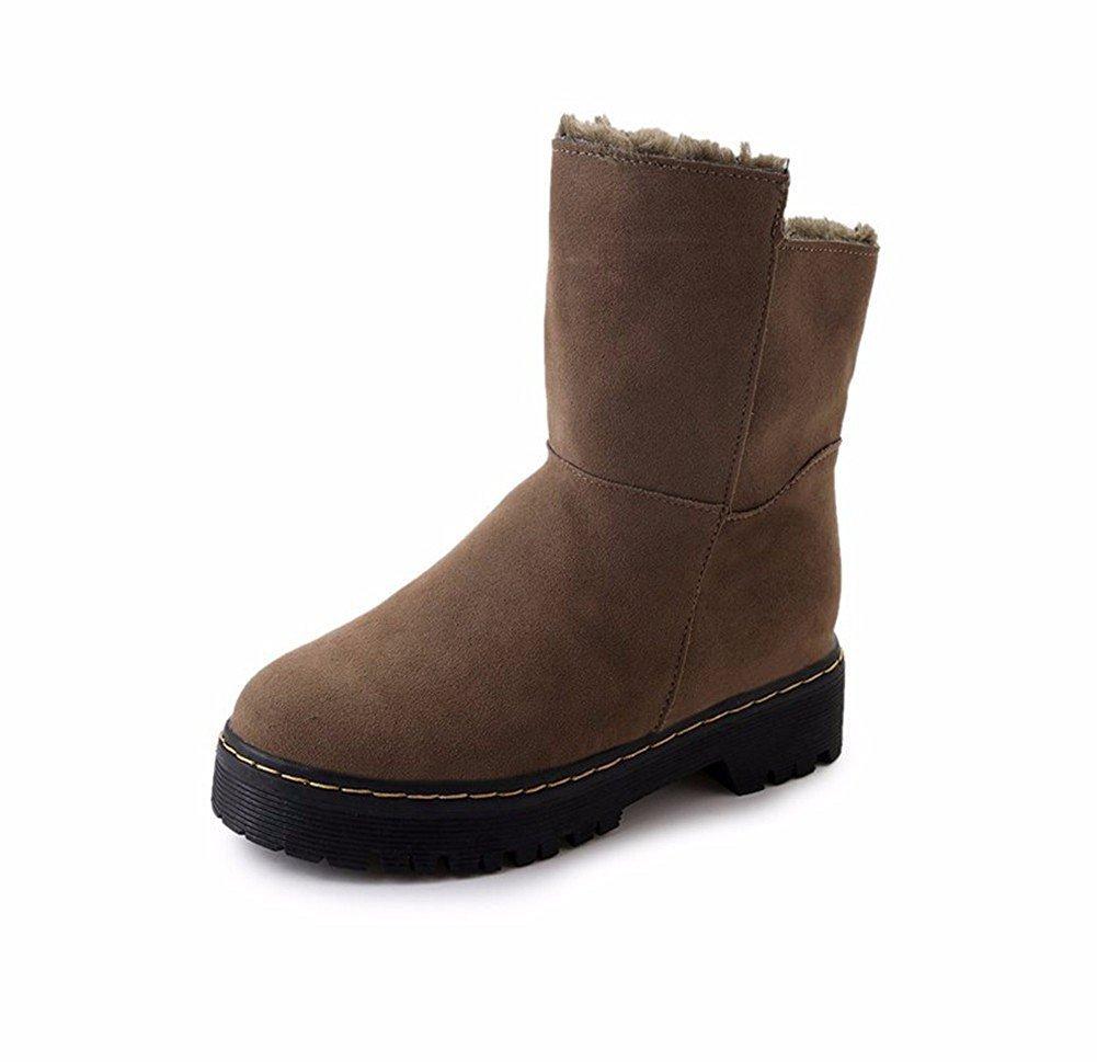 DIDIDD Women'S Snow Boots Thick Bottom Medium Barrel Big Size Outdoor Sports Shoes,37 Eu,Brown