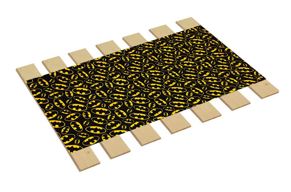 Custom Made in The U.S.A.! Youth/Toddler Size Batman Logo Comic Book Hero Themed Bed Slats Bunky Boards - Cut to The Width of Your Choice (26'' Wide) - Free Box of Crayons with Purchase