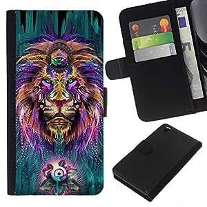 A-type (Hippie Third Eye Zen Alternative King) Colorida Impresión Funda Cuero Monedero Caja Bolsa Cubierta Caja Piel Card Slots Para HTC DESIRE 816