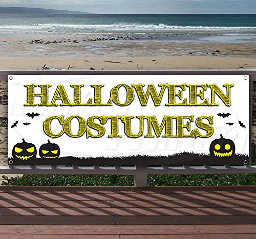 Halloween Costumes 13 oz Heavy Duty Vinyl Banner Sign with Metal Grommets, New, Store, Advertising, Flag, (Many Sizes Available)