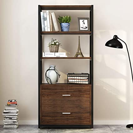 super popular f804c 2b667 Amazon.com: Tribesigns Bookshelf Bookcase with 2 Drawers ...