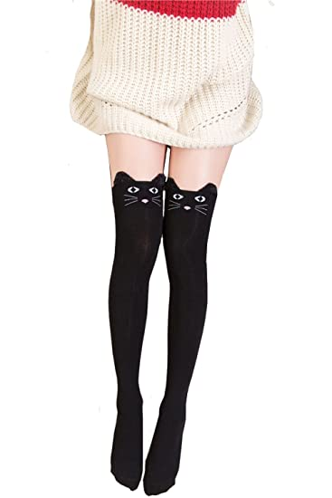eed0476c9 Geoot Women Cute 3d Cartoon Animal Pattern Thigh Stockings Over Knee High  Socks (Black Cat