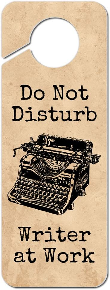 Do Not Disturb Writer at Work Plastic Door Knob Hanger