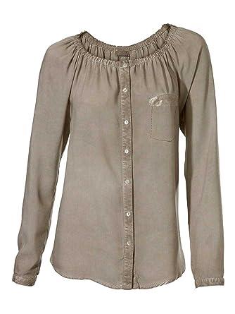 5e2b0ee5cee2 Mandarin Bluse mit Pailletten taupe Größe 48  Amazon.de  Bekleidung