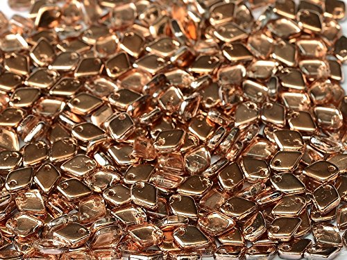 - 8gr Dragon Scale Bead - Czech Glass Pressed Diamond-Shaped Beads 5x1.5 mm Crystal Capri Gold
