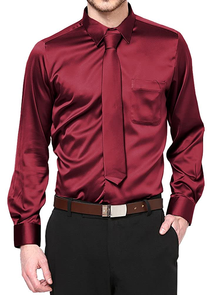 Daniel Ellissa Burgundy Satin Dress Shirt with Neck Tie and Hanky Kids to Youth Sizes