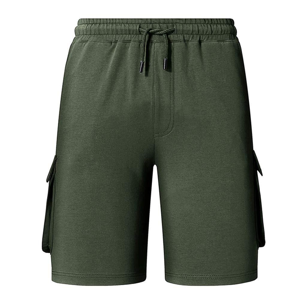 Willsa Mens Shorts, Fashion Pure Color Casual Elastic Waist Drawstring Sports Home Short Pants Green
