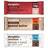 Hemp Protein Bar by Hemplete — Vegan, Whole Food Based, Sample Pack, 3 Flavors, (3 Count) Paleo, Low Carb Friendly Snack With Healthy Fats