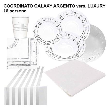 Party&Co. Servicio de Mesa Galaxy Plata Blanco y Plateado para 16 ...