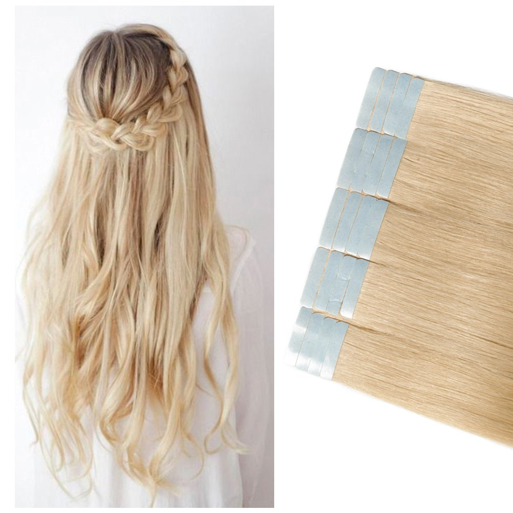 Tape in Human Hair Extensions Blonde 100g Highlight 40 Pieces Rooted Straight Seamless Skin Weft Invisible Double Sided Tape 40pcs 18'/18inch #613 Bleach Blonde+20pcs Free Tapes by MY-LADY
